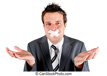 Speach denied - Man with tape over his mouth in a gesturing...