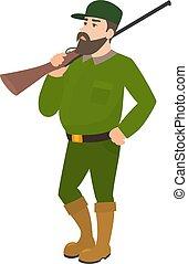 Vector cartoon hunter green uniform hunting rifle - Vector...