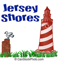 jersey shores - lighthouse on jersey shore illustration