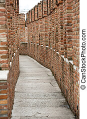 pathway on a wall of Castelvecchio Museum in Verona, Italy