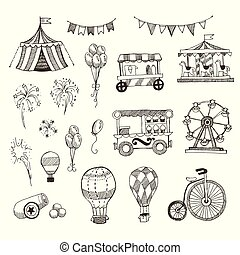 Doodle Set of Circus elements isolated on white, Black contour for coloring