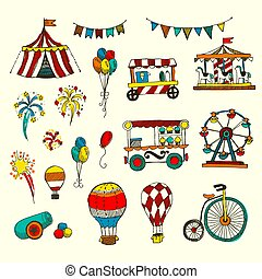Doodle Set of Circus elements isolated on white,