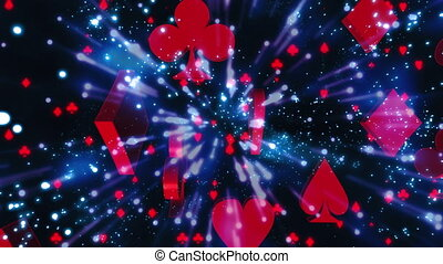 Particles and light streaks and card suits gambling animated...