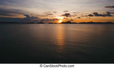 Beautiful sunset over sea, aerial view. - Marine tropical...