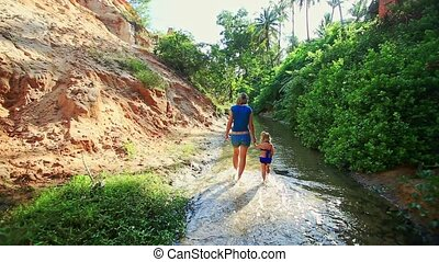 Mother Daughter Walk along Shady Fairy Stream Backside View...