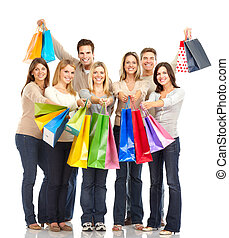 Shopping people - Happy shopping shopping Isolated over...