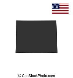 U.S. state on the U.S map Wyoming on a white background