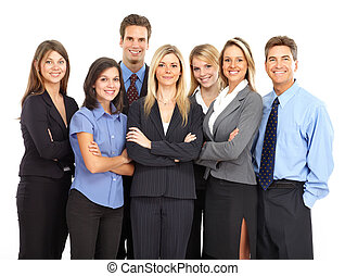 Business people - Large group of young smiling business...