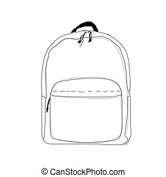 Backpack mockup, sketch for your design. Vector illustration