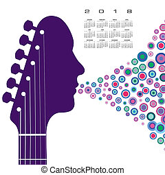 A 2018 calendar with a guitar headstock man with circles