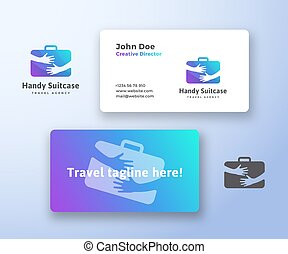 Handy Suitcase Travel Agency Abstract Vector Sign, Symbol or...