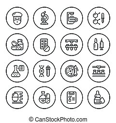 Set round line icons of pharmaceutical industry isolated on...