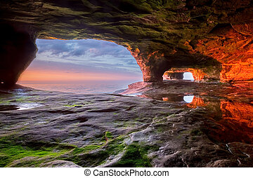 Sea Cave on Lake Superior - The walls of this sea cave...