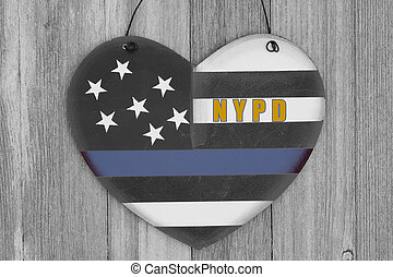 Retro I love thin blue line NYPD sign on weathered wood -...