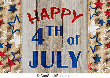 Happy 4th of July greeting - Happy 4th of July text with USA...
