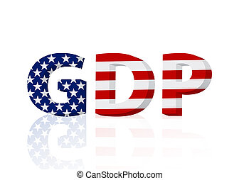 United States GDP, 3D word GDP in the American flag colors...