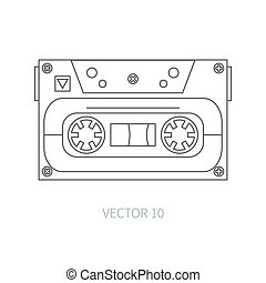 Line flat vector icon audiocassette. Hipster style. Audio. Music. Sound. Retro. Magnetic tape. Analogue multimedia technology. Entertainment. Illustration texture for your design, wallpaper.