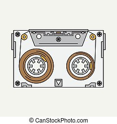 Line color vector icon audiocassette. Hipster style. Audio. Music. Sound. Retro. Magnetic tape. Analogue multimedia technology. Entertainment. Illustration texture for your design, wallpaper.