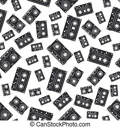 Seamless background pattern hipster style with audiocassette. Music. Sound. Retro. Magnetic tape. Analogue multimedia technology. Entertainment. Vector illustration texture for your design, wallpaper.