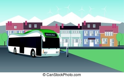 The electric bus stands near the station and charging on the...