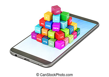 Set of colored cubes with domain names on smartphone, 3D...