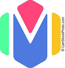 Letter M Hexagon Symbol, Colorful creative Word Art - an...