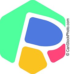 Letter R Hexagon Symbol, Colorful creative Word Art - an...