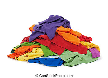 Heap of colorful clothes - Big heap of colorful clothes,...