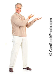 Elderly man - Smiling happy elderly man. Isolated over white...