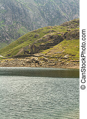 LLyn Llydaw lake and copper mine remains on Mount Snowdon -...