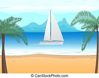 Vector beach palm tree boat with sails on ocean