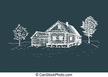 Vector rural landscape illustration. Hand drawn russian countryside poster. Sketch of village peasants house