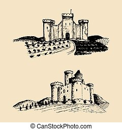 Vector old castles illustrations. Hand drawn sketches of landscapes with ancient towers among rural fields and hills.