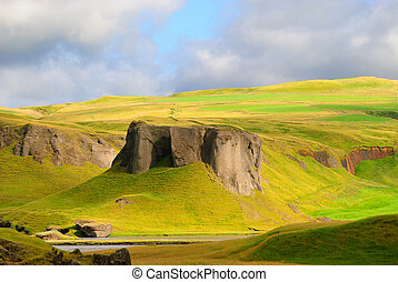 Icelandic landscape - landscape in the countryside in...