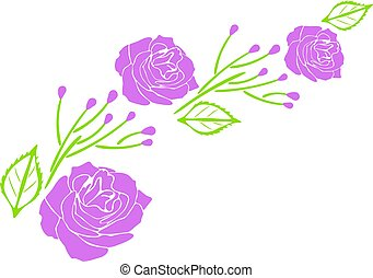 Decorative element with purple roses. Vector illustration