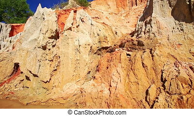 Strange Yellow Orange Rock Formations Pitted by Wind -...
