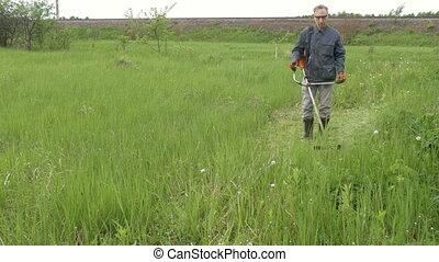 A man mows green grass, makes a clean lawn near his country...
