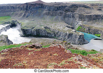 Clash of rivers - River of mud to clean river meets Gulfoss...