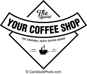 Coffee Shop Logo, Cup and beans in vintage style