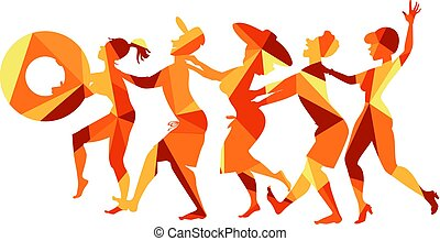 Conga line - Polygonal vector illustration of a group of...