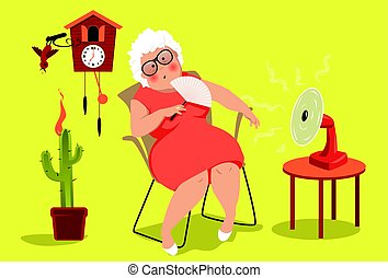 Heat exhaustion danger - Mature woman sitting in her house...
