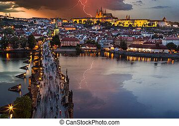 Prague Castle after sunset. Europe, Czech republic. - Prague...