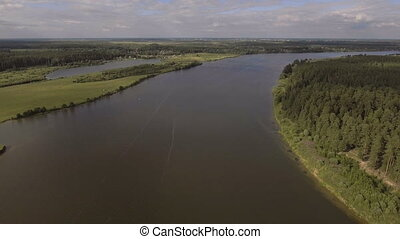 Speed boat on river.Aerial video. - Speed boat sails on the...