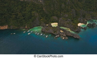 Beautiful tropical lagoon, aerial view. Tropical island. -...
