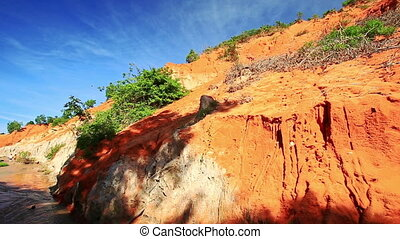 Motion along Yellow Orange Rock Formations Speckled with...