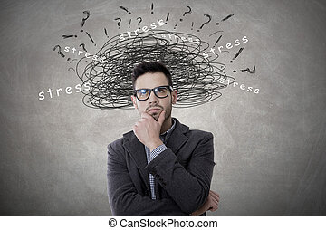 young man with expression of stress, concept