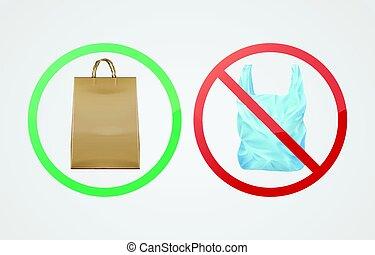 Paper bag against plastic
