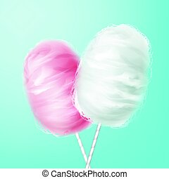 Pink, white cotton candy - Vector pink, white cotton candy...