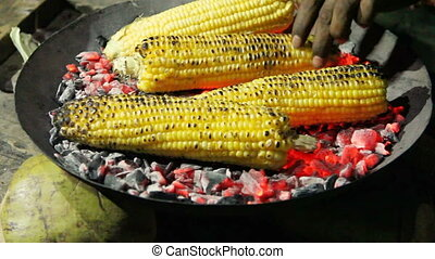 Roasted corn on the coals in the dark closeup