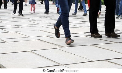 People cross the road at a pedestrian crossing. - Volgograd,...